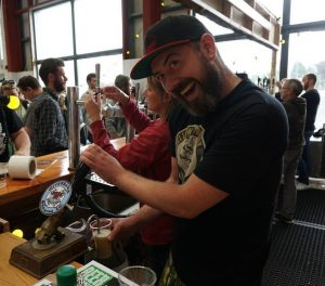 Declan pouring his cask sour at White Hag's 2nd Birthday Party